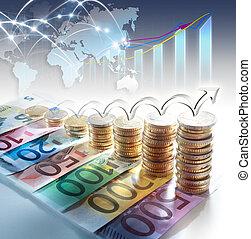 wykres, euro, -, waluta, pojęcie