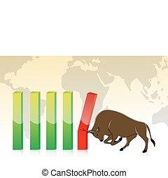 wykres, handlowy, byk