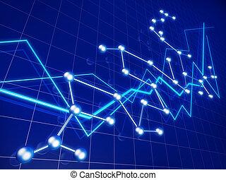wykres, handlowy, finansowy wzrost, sieć, pojęcie