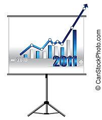 wykres, -, handlowy, powodzenie