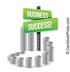 wykres, handlowy, powodzenie, znak