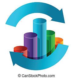 wykres, handlowy, strzała, cykl