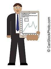 wykres, handlowy, tabliczka, człowiek