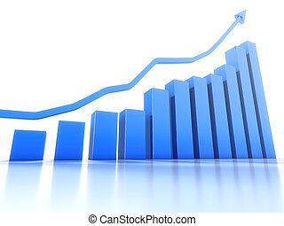 wykres, kierunek, wspólny, pokaz, dodatni