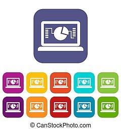 wykres, komplet, laptop, handlowe ikony