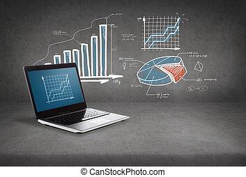wykres, laptop komputer, ekran