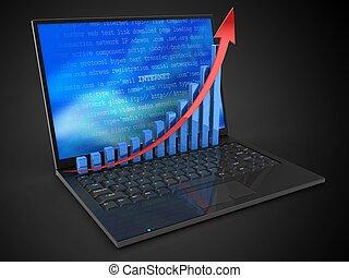 wykres, laptop komputer, powstanie, 3d