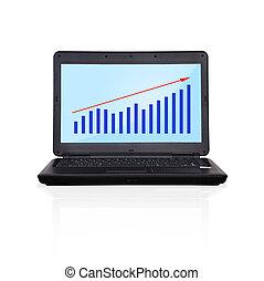 wykres, laptop