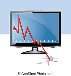 wykres, lcd, handlowy