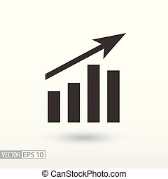 wykres, płaski, icon., znak, wykres