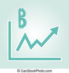 wykres, podwyższając, bitcoin, symbo