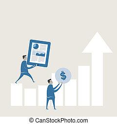 wykres, prognozowanie, wektor, ilustracja handlowa