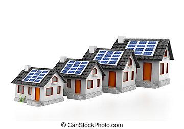 wykres, sprzedaż, słoneczny, rozwój, dom, poduszeczki
