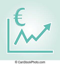 wykres, symbol, podwyższając, euro