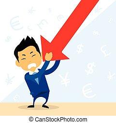 wykres, utrzymywać, biznesmen, finansowy, na dół, upadek, ...