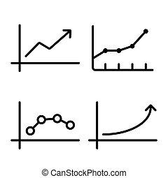 wykres, wykres, tło, biała lina, ikona