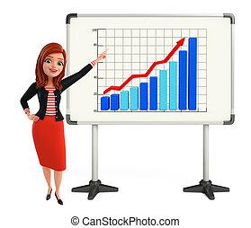 wykres, zbiorowy, dama, młody, handlowy