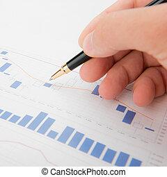 wykresy, analiza, handlowy