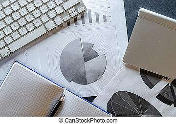 wykresy, concept., tło., planista, porządek dzienny, analiza, wykresy, przegląd, biuro., finanse, dane, finansowy