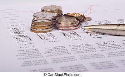 wykresy, dokument, monety