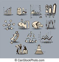 wykresy, doodle, handlowy