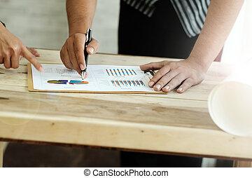 wykresy, dyskutując, wykresy, handlowy zaludniają