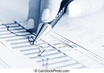 wykresy, handlowy, analiza