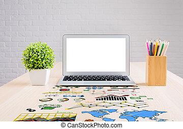 wykresy, handlowy desktop