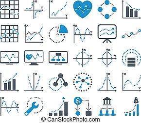 wykresy, ikony, kropkowany