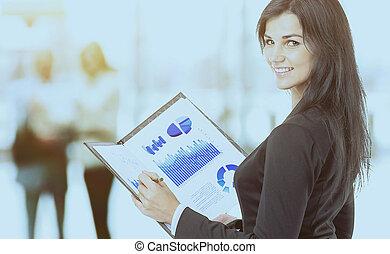 wykresy, kobieta, wykresy, handlowy