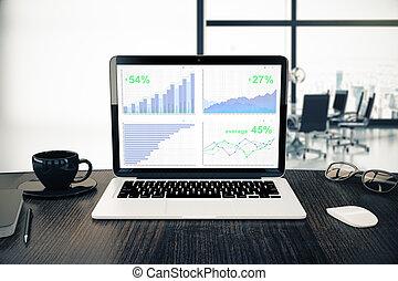 wykresy, laptop, handlowy