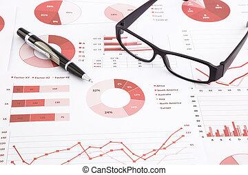wykresy, wykresy, analiza, zameldować, dane, summarizing