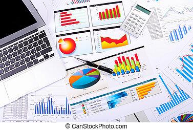 wykresy, wykresy, handlowy, stół.