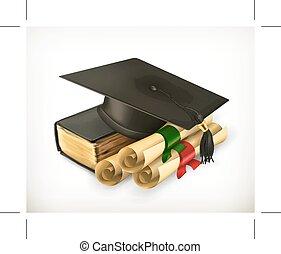 wykształcenie, i, trening, ikona