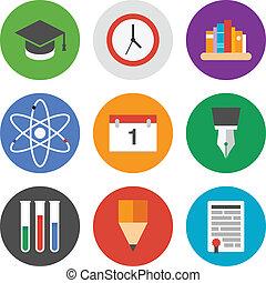 wykształcenie, komplet, ikony