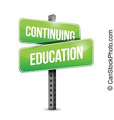 wykształcenie, kontynuowanie, ulica, ilustracja, znak