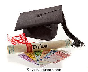 wykształcenie, moździerz, wydatki, deska, euro., europe.