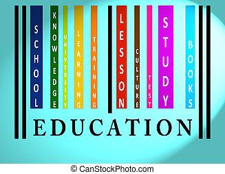 wykształcenie, słowo, barwny, barcode