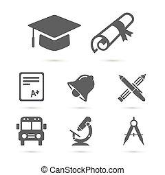 wykształcenie, szkoła, ikony, na, white., wektor, elementy