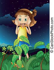 wylękniony, młoda dziewczyna, las