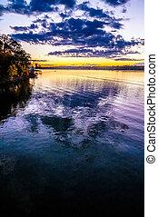 wylie, coucher soleil, lac