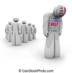 wymagania, pomoc, pomoc, -, smutny, osoba, sam