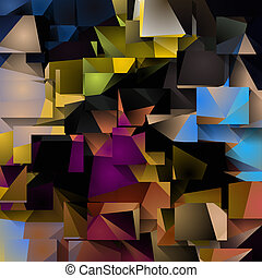 wymiarowy, abstrakcyjny, barwny