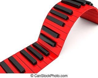 wymiarowy, klawiatura, piano, trzy