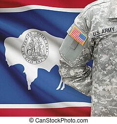 wyoming, -, állam, bennünket, katona, lobogó, háttér, amerikai