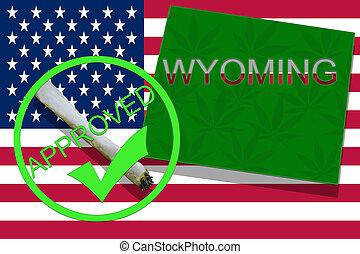 wyoming, auf, cannabis, hintergrund., droge, policy., legalization, von, marihuana, auf, usa markierung