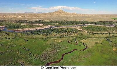 Wyoming,  crowheart, Reservierung, restberg, Fluß,  Wind