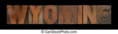 Wyoming in old wood type