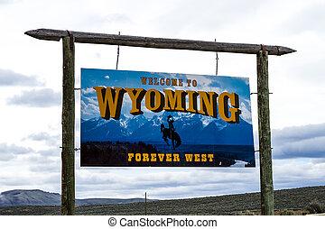 wyoming, motorväg, välkommande signera