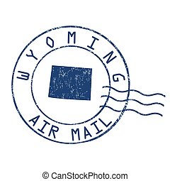 Wyoming post office, air mail stamp